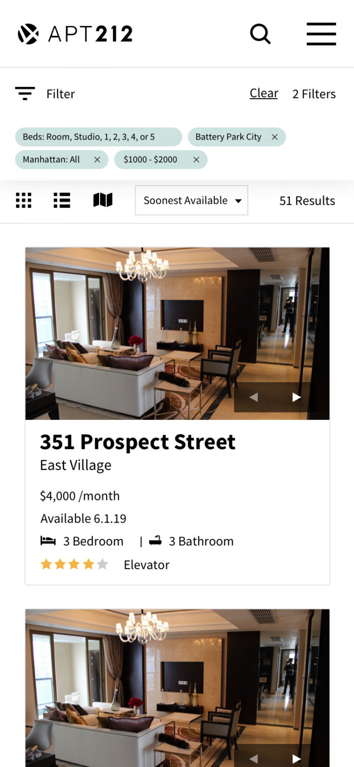 Mobile Apartment Listing